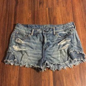 american eagle flower denim shorts